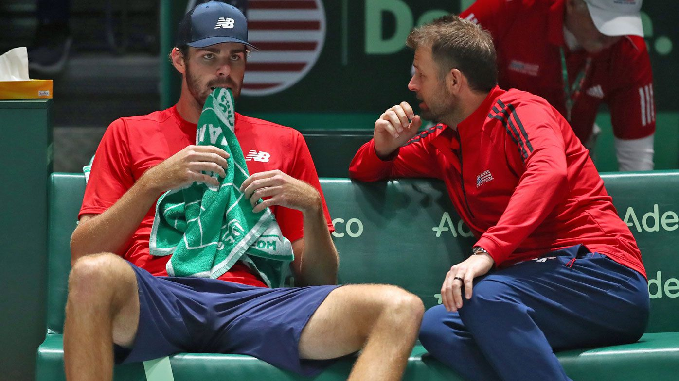 Mardy Fish, Captain of The United States talks to Reilly Opelka