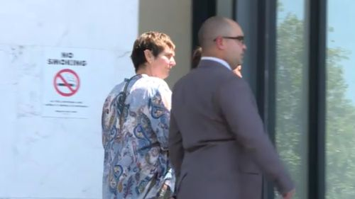 The accused officers outside court today.