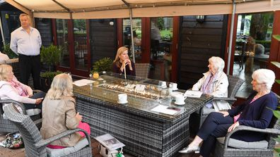 Sophie, Countess Of Wessex speaks to members of the Bagshot Women's Institute during her visit at 'The Half Moon' public house on July 08, 2020 in Windlesham, England