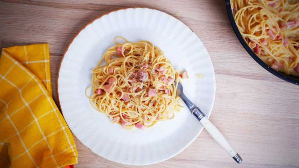 Fifteen minutes, no cream, dreamy spaghetti carbonara