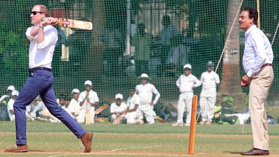 William bats during a charity cricket match at Mumbai's Oval Maidan, on day one of the tour.