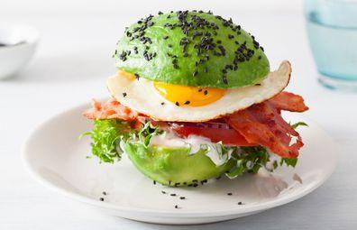 Stock image: Keto healthy low-carb burger with avocado buns