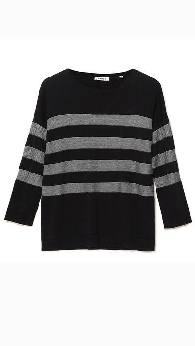 "<a _tmplitem=""14"" href=""http://www.marcs.com.au/product-detail.html?styl=17216&clr=BLK/IVORY&cat=764#.VRteSvmUeYg""> Silk/Cashmere Mademoiselle Knit, $159, Marcs</a>"