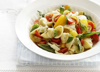 "Recipe:&nbsp;<a href=""http://kitchen.nine.com.au/2016/05/17/14/26/fresh-tomato-mozzarella-and-basil-orecchiette"" target=""_top"">Fresh tomato, mozzarella and basil orecchiette</a>"