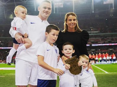 Wayne and Coleen Rooney pictured with their four boys (L - R) Cass, Kai, Klay and Kit