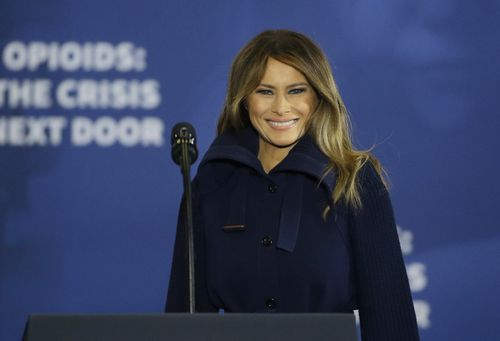 The First Lady had recovered her composure as she addressed an opioid summit in New Hampshire a short time later. (AAP)