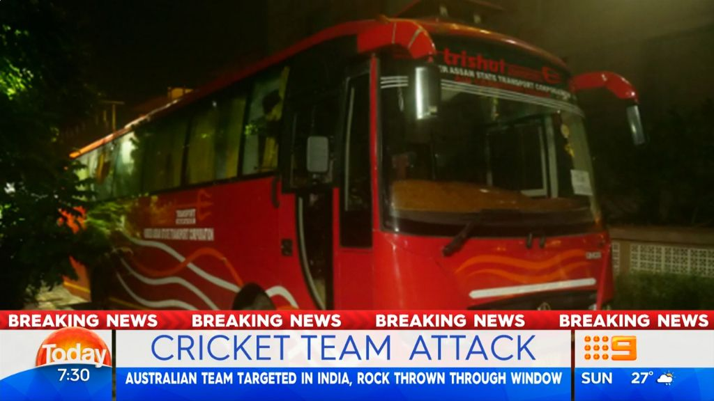 Rock thrown team bus window of Australian cricket team