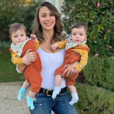 Laura Turner and her twin daughters