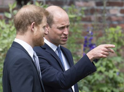 Britain's Prince William and Prince Harry gesture, during the unveiling of a statue they commissioned of their mother  Princess Diana,  on what woud have been her 60th birthday, in the Sunken Garden at Kensington Palace, London, Thursday July 1, 2021. (Dominic Lipinski /Pool Photo via AP)