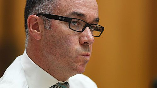 NAB chief executive Andrew Thorburn fronting a Senate committee. (AAP)