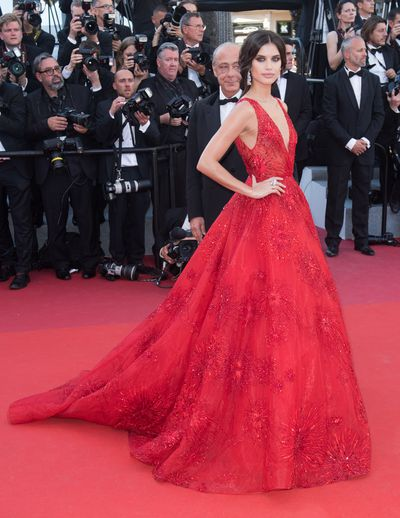 Model Sara Sampaio in Zuhair Murad at the 2017 Cannes Film Festival