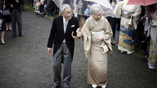 Japan's Emperor Akihito, seen here with his wife Empress Michiko, will abdicate the throne today.