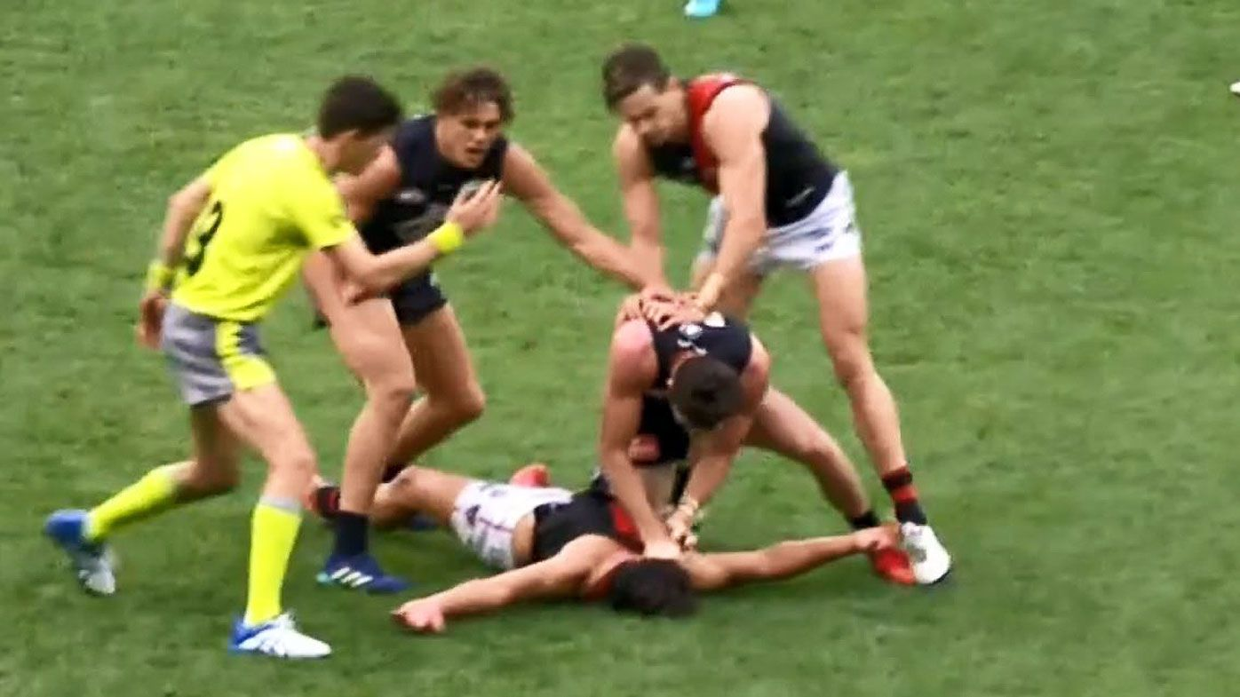 Essendon's Baguley denies dead dad sledge toward Carlton's Jed Lamb