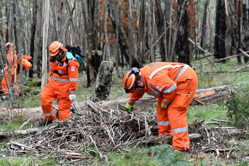 SES volunteers searching around Lock Rd in Mt Macedon. Picture: AAP