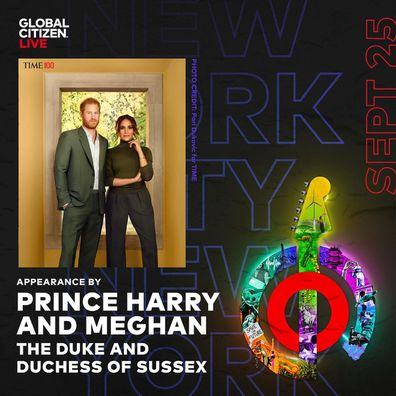 Duke and Duchess of Sussex at Global Citizen Live 2021.