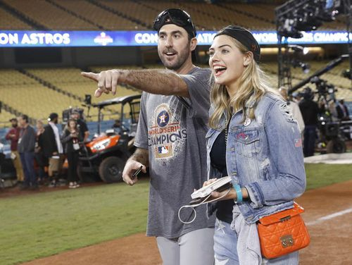 Kate Upton and husband Justin Verlander, a pitcher for the Houston Astros in the MLB. (AAP)