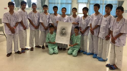 The boys' tribute to Saman Gunan. Picture: Supplied