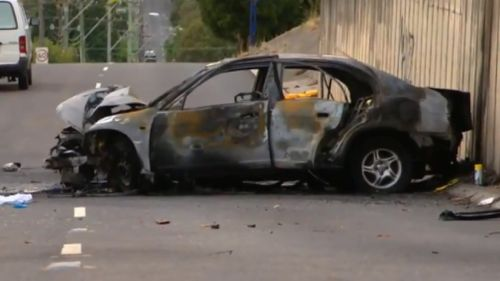 The burnt out car in Blacktown. (9NEWS)