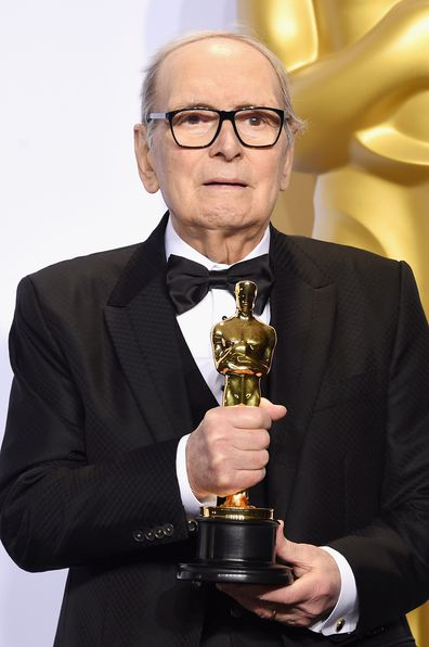 Composer Ennio Morricone poses in the press room during the 88th Annual Academy Awards at Loews Hollywood Hotel on February 28, 2016 in Hollywood, California.