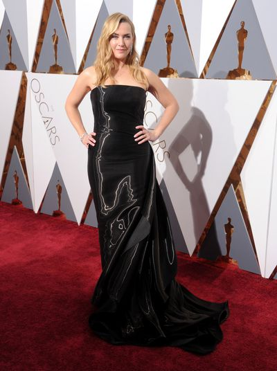 "<p>Kate Winslet in Ralph Lauren.</p> <p>""I wanted to look sleek and chic and to feel powerful and proud of myself,"" Kate told <a href=""http://www.vogue.com/13408168/kate-winslet-ralph-lauren-collection-celebrity-oscar-red-carpet-style-2016/"" target=""_blank"">US Vogue</a>. ""The dress is actually very simple; it's the fabric that makes the statement. But my jewels by Nirav Modi, are such statement pieces because they are so delicate in contrast to the drama of the dress, and they really help to balance out the look.""</p>"