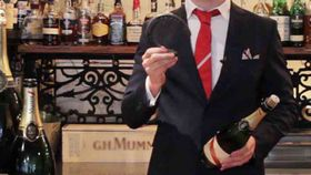 How to sabre a bottle of Champagne with a 'lucky' horseshoe