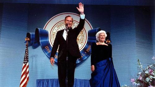 With beloved wife Barbra at an Inauguration Ball after George WH Bush became President of the US.