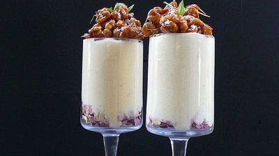 """<a href=""""http://kitchen.nine.com.au/2016/06/06/13/20/rose-scented-white-chocolate-mousse-with-candied-walnuts"""" target=""""_top"""">Rose scented white chocolate mousse with candied walnuts</a> recipe"""
