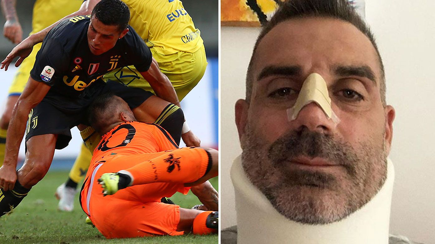 Cristiano Ronaldo savaged by goalkeeper's girlfriend after brutal collision