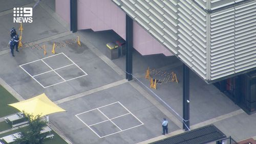 NSW Police set up a crime scene at Arthur Phillip High School , after a 14-year-old boy was stabbed on the campus.