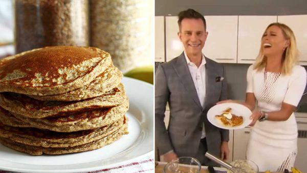 Sonia Kruger and David Campbell make healthy pancakes