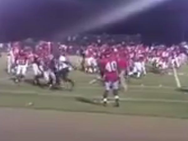 College footballers brawl in Mississippi. (Supplied)
