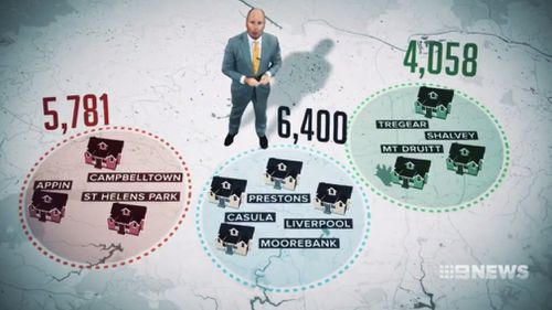 A map of areas in NSW where families are struggling to pay their mortgage. (9NEWS)