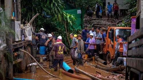 120 million litres of water has been pumped out of the cave system in the past few days, as rescue divers fight against rain forecasts that will flood the caves further. Picture: CNN