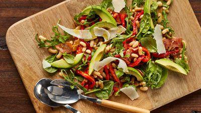 "Recipe: <a href=""http://kitchen.nine.com.au/2017/07/25/17/10/warm-white-bean-and-prosciutto-salad"" target=""_top"">Warm white bean and prosciutto salad</a>"