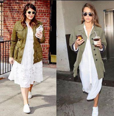 Plus-size blogger Katie Sturino replicating Jessica Alba's look
