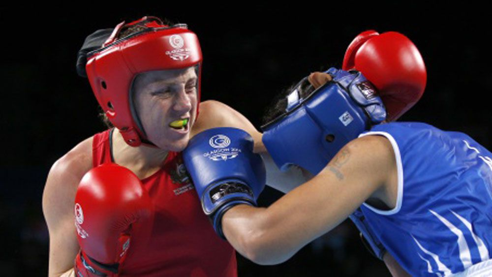 Shelley Watts (left) in action during the Commonwealth Games.(Getty)