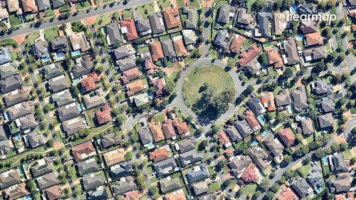The lush, green front and backyards of Harrington Park. (Nearmap)