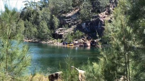 A teenager has been airlifted to hospital after falling up to 10 metres at a swimming hole at a NSW quarry (Supplied).