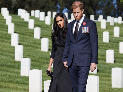 Harry and Meghan hold hands at Remembrance Day appearance 2020