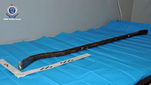 A crowbar found at the scene of the robbery in Moama.