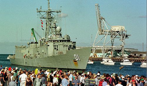 The HMAS Adelaide, the ship involved in the rescue, was given a hero's welcome home upon its return. Picture: Supplied.