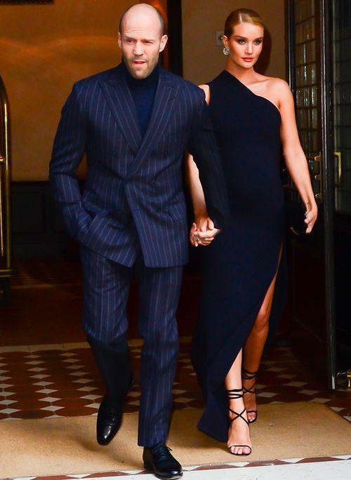 Jason Statham and supermodel fiancée Rosie Huntington-Whiteley in New York City (Getty).