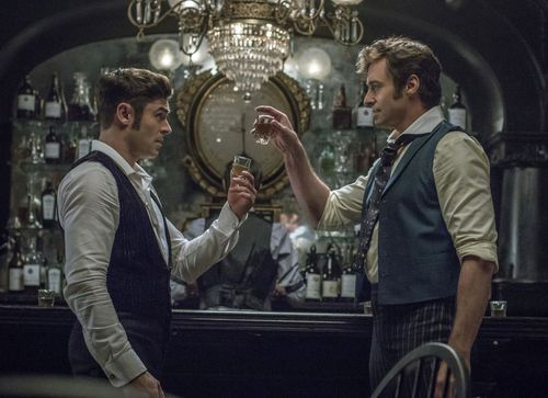 """Zac Efron, left, and Hugh Jackman have become """"great mates"""" after filming The Greatest Showman. (AAP)"""