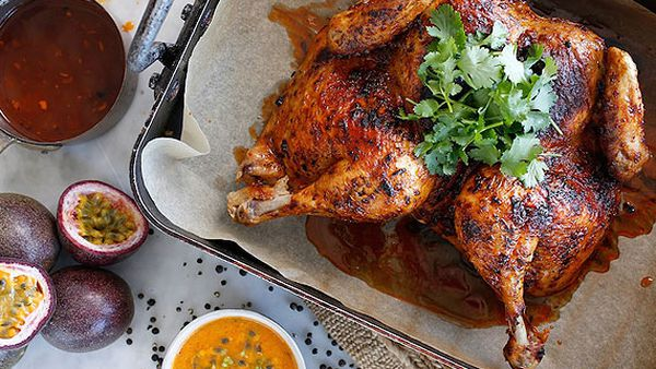 Sammy & Bella's roast chicken with spicy Peruvian passionfruit sauce