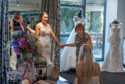 Married at First Sight's Davina trying on dresses for her wedding with her mother and friends