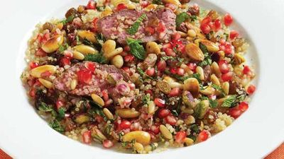 Lamb with pomegranate, mint and nuts