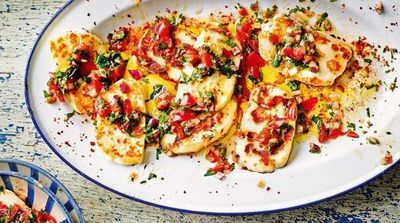 Fried haloumi with herby salsa
