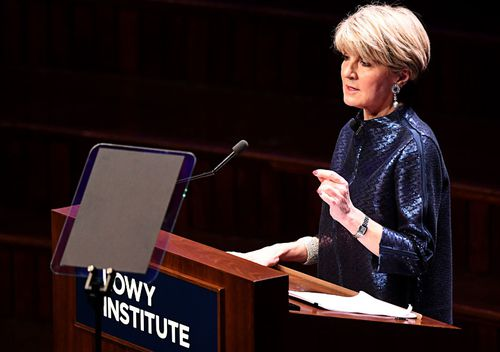 """Former foreign minister Julie Bishop described Mr Lowy as one of Australia's """"finest citizens"""" in her introduction."""