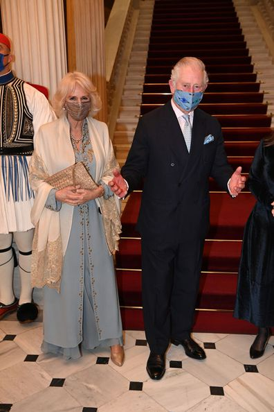 Prince Charles, Prince of Wales and Camilla, Duchess of Cornwall attend a dinner and reception hosted by Her Excellency the President of the Hellenic Republic, Mrs. Katerina N Sakellaropoulou at the Presidential Mansion on March 24, 2021 in Athens, Greece.