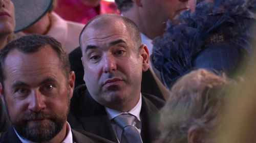 Rick Hoffman, of Suits, can't help but face-pull during the service. Picture: PA
